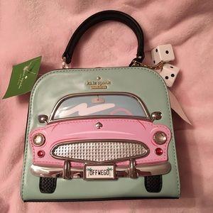 """NWT Kate Spade """"Checking In"""" Rare Pink Car Handbag"""